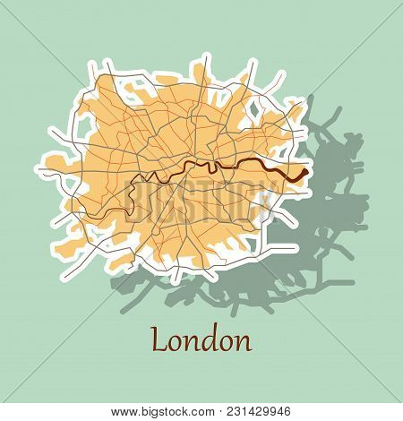 Sticker Color Map Of London, United Kingdom. City Plan Of London. Vector Illustration