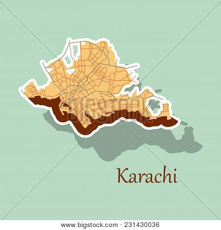 Karachi, Pakistan, Colorful Sticker Map. Streets, Railways And Water. Bright Colored Landmark Shapes