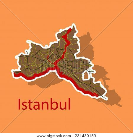 High Quality Map Of Istanbul Sticker With Borders Of The Districts