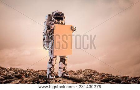 Spaceman explore planet. Mixed media