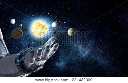 Hand of spaceman. Mixed media