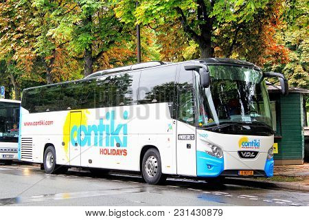 Paris, France - August 8, 2014: Touristic Coach Bus Vdl Futura In The City Street.