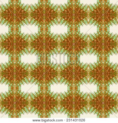 Seamless Pattern In Green, Yellow, Orange Rombus Art Elements. Abstract Kaleidoscope Background. Sym