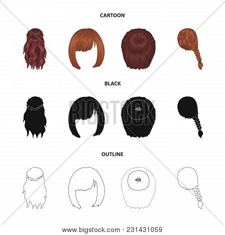 Kara, Red Braid And Other Types Of Hairstyles. Back Hairstyle Set Collection Icons In Cartoon, Black