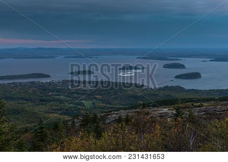 Cruise Ships Dock In Bar Harbor In Autumn