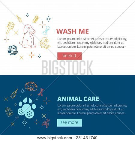 Set Of Dog Care Line Art Banners With Sign Of Dog, Bone, Clipper, Comb. Stylish Animal Equipment For