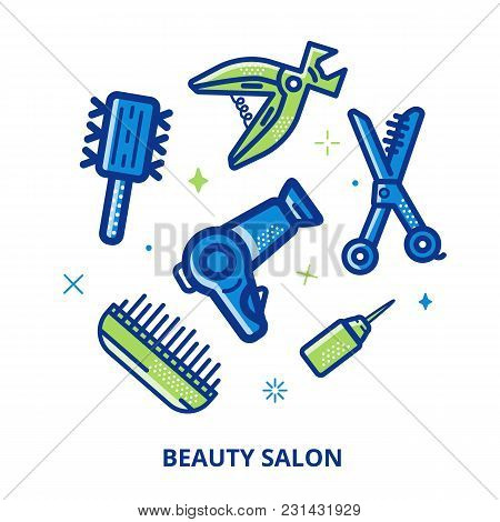Beauty Salon Cosmetic Vector Circle Banner. Line Art Symbols For Fashion, Hairdressers. Women Icon A