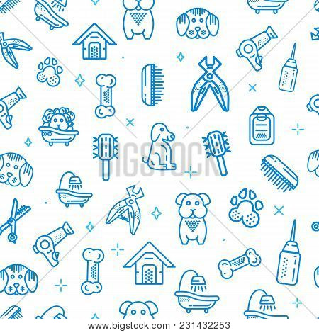 Pet Shop Vector Seamless Pattern. Dog Supplies Line Icons Design
