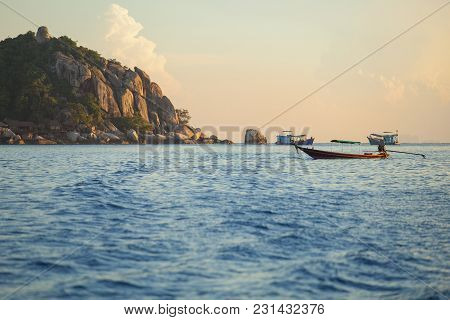Long Tail Boat Floating Over Blue Sea At Koh Nang Yuan And Koh Tao Island Most Popular Traveling Des