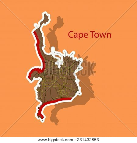 Sticker Map Of Capetown. Travel, Area, Art