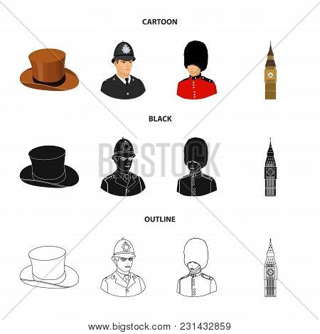 England, Gentleman, Hat, Officer .england Country Set Collection Icons In Cartoon, Black, Outline St