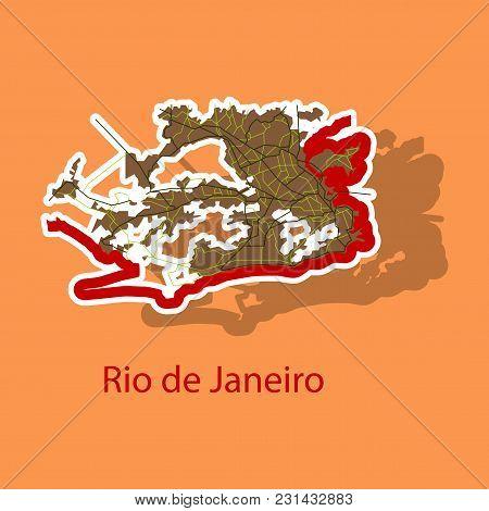 Modern Map - Rio De Janeiro Sticker Travel, Area, Art
