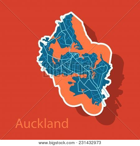 Map - Auckland New Zealand - Sticker-illustration Travel, Area, Art Geography