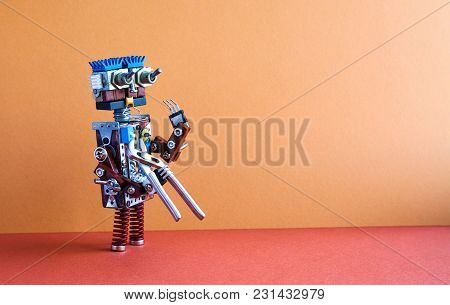 Robotic Maintenance Repair Fixing Service Concept. Robot Handyman With Pliers. Brown Wall, Red Floor