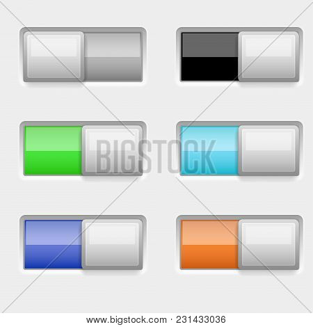 On And Off Colored Slider Buttons. Vector 3d Illustration