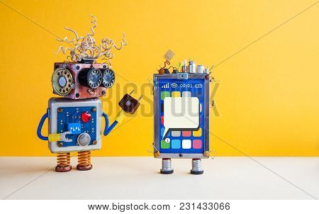 Smartphone Robot Assistant. Creative Design Touch Screen Mobile Phone Device, Light Bulb Capacitors
