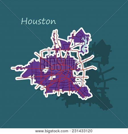 Sticker Map Houston City. Texas Roads Travel, Area, Art
