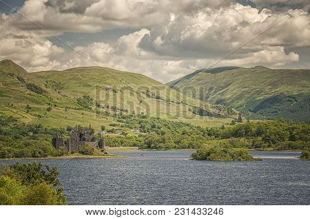 Kilchurn Castle, A Ruined 15th Century Structure On The Banks Of Loch Awe, In Argyll And Bute, Scotl