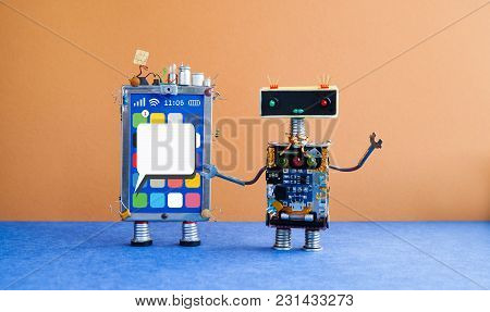 Mobile Smartphone And Robot Manager. Creative Design Touch Screen Phone Device, Light Bulb Capacitor