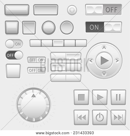 Interface Buttons Set. Push Buttons, Media Buttons, Switch. Vector 3d Illustration