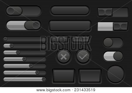 Black Interface Buttons Set. Vector 3d Illustration
