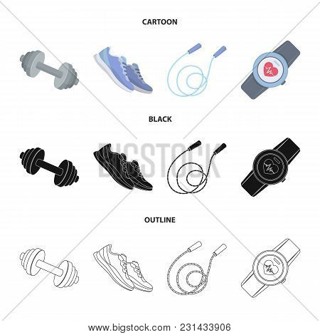 Dumbbell, Rope And Other Equipment For Training.gym And Workout Set Collection Icons In Cartoon, Bla
