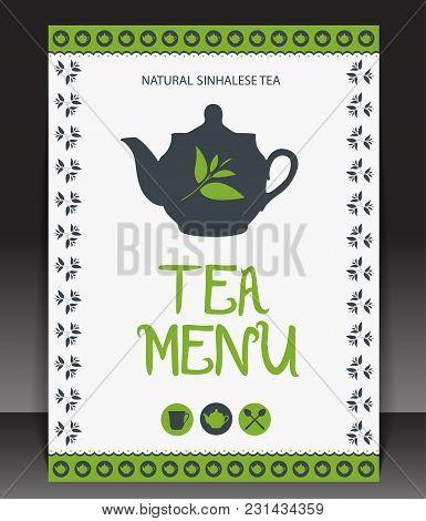 Beautiful Tea Menu Design. Vector Illustration For Business