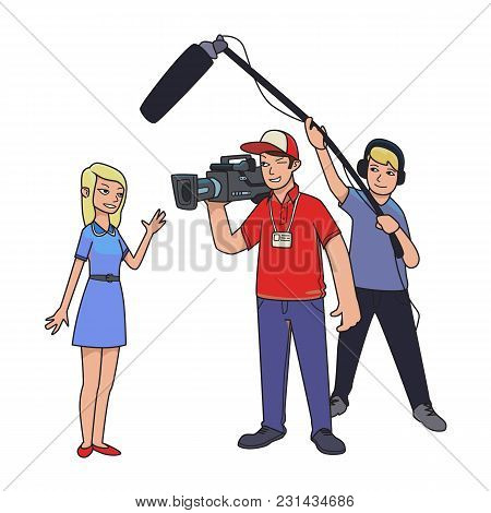 Tv Report, Shooting News . A Female Reporter, Cameraman And Sound Engineer. Cartoon Vector Illustrat