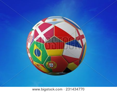 3D rendering of soccer ball with superimposed national flags representing major national soccer teams shot against blue sky background