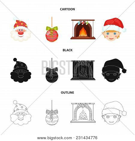 Santa Claus, Dwarf, Fireplace And Decoration Cartoon, Black, Outline Icons In Set Collection For Des