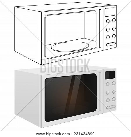 Microwave Oven. Vector Outline Drawing And 3d Illustration Isolated On White Background