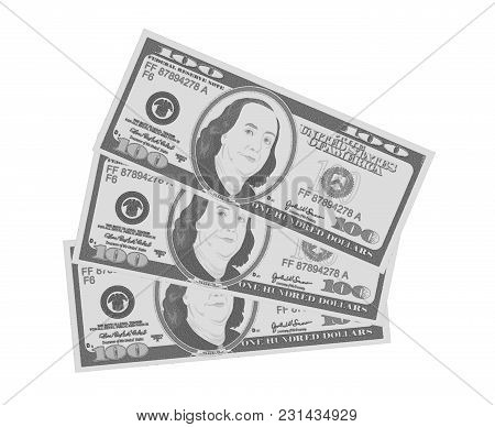 Close Up View Of American Hundred Dollar Bills. Usa Currency In Retro Style For Business Concept. Gr