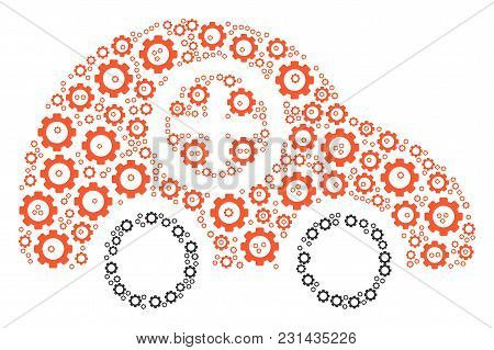Ambulance Car Mosaic Of Gearwheels. Vector Gear Pictograms Are Grouped Into Ambulance Car Mosaic.