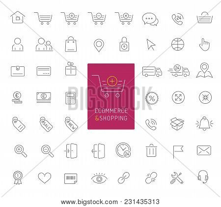 50 High Quality Ecommerce And Shopping Thin Line Icons