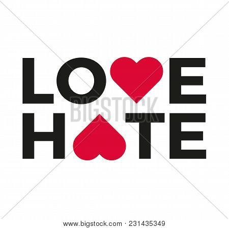 Love & Hate Logo With Heart Symbol Upside Down