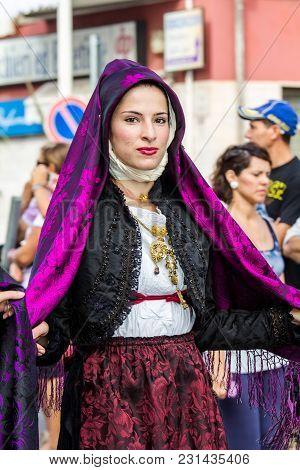 Selargius, Italy - September 13, 2015: Ancient Selargino Wedding, Parade Of The Paulilatino Folk Gro