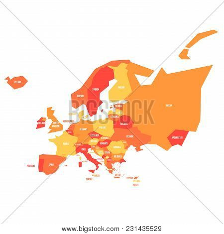 Very Simplified Infographical Political Map Of Europe In Oange Color Scheme. Simple Geometric Vector