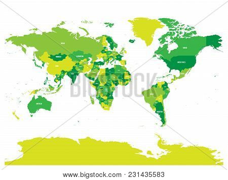 Horizontally Flipped Political Map Of World. Mirror Reflection. Vector Illustration.