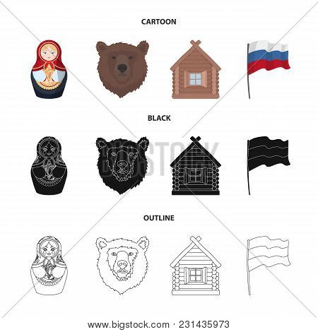 Russia, Country, Nation, Matryoshka .russia Country Set Collection Icons In Cartoon, Black, Outline