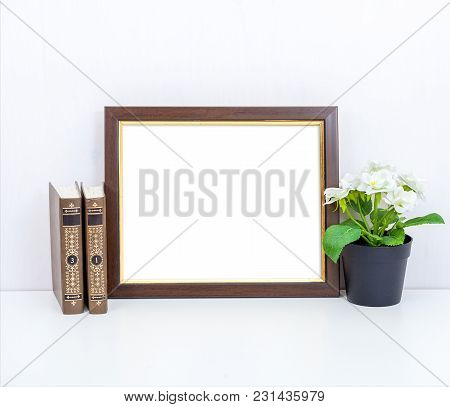 Mockup 8x10 With A Blue Vase. Minimalistic Design. Landscape Orientation.