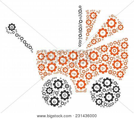 Baby Carriage Collage Of Tooth Gears. Vector Cog Wheel Objects Are Organized Into Baby Carriage Comp