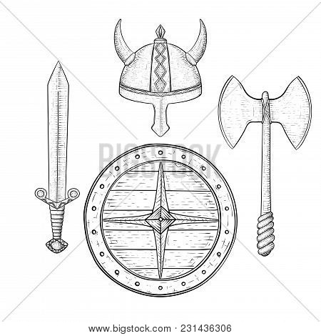 Viking Armor Set - Helmet, Shield, Sword And Axe. Hand Drawn Sketch. Vector Illustration Isolated On