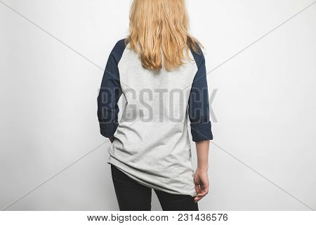 Rear View Of Young Woman In Blank Long Sleeve On White