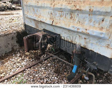 Close Up Of Metal Coupling Train Cars