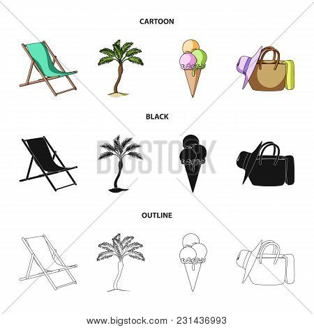 Beach, Palm Tree, Ice Cream.summer Vacation Set Collection Icons In Cartoon, Black, Outline Style Ve