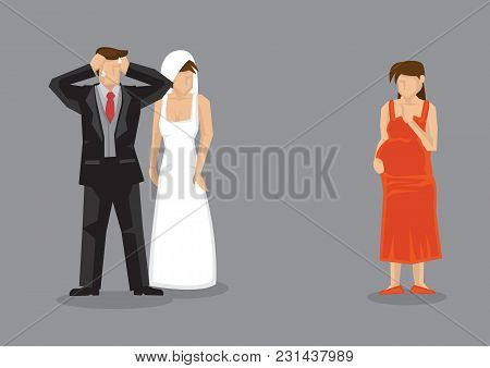 Bridegroom Feeling Stressed Out When Pregnant Girlfriend Turns Up At His Wedding. Cartoon Vector Ill