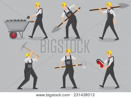 Set Of Six Vector Illustration Of Miner Carrying Mining Tool And Equipment In Action. Cartoon Charac