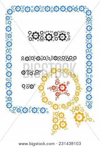 Certificate Collage Of Mechanical Wheels. Vector Cog Wheel Parts Are Composed Into Certificate Patte