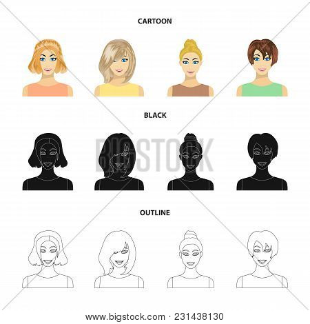 Types Of Female Hairstyles Cartoon, Black, Outline Icons In Set Collection For Design. Appearance Of