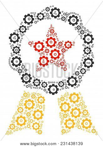 Certificate Seal Mosaic Of Cogs. Vector Mechanical Wheel Pictograms Are United Into Certificate Seal